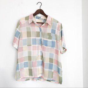 Vintage • Pastel Check Button Down Shirt